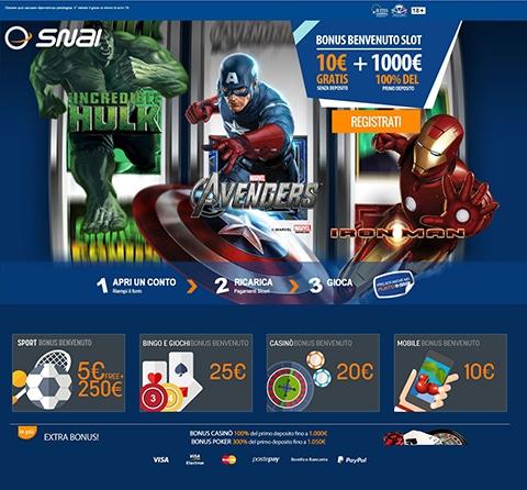 La home page di Snai